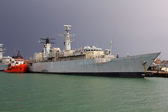HMS Cornwall (F99) - Cornwall in Portsmouth harbour prior to scrapping, October 2013
