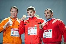 Il podio del getto del peso ai Campionati europei di Helsinki 2012 (Rutger Smith, David Storl, Asmir Kolašinac).