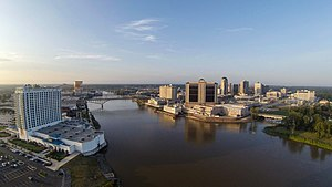 Shreveport–Bossier City metropolitan area - Downtown Shreveport (right) and Bossier City (left)