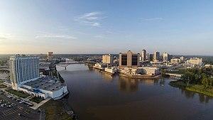 Shreveport–Bossier City metropolitan area - Downtown Shreveport (right) and Bossier City (left)