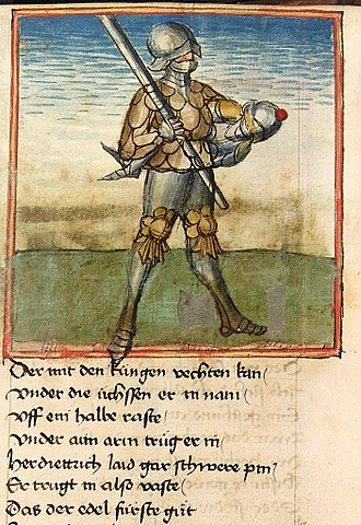 Sigenot - Sigenot carries Dietrich after defeating him. Cpg 67 fol. 55v