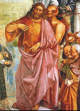 False prophet - The Devil whispers to the Antichrist; detail from Deeds and Sermons of the Antichrist, Luca Signorelli, 1501, Orvieto Cathedral