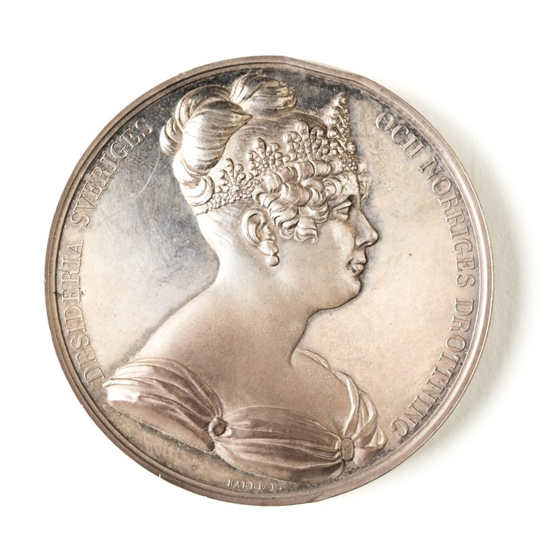 Silvermedalj, 1823. Åtsida, Drottning Desideria - Skoklosters slott - 109336.tif