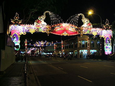 Diwali decorations in Little India is an annual celebration for Hindus in Singapore.[53] - Diwali
