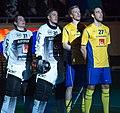 Singing National anthems, EFT 2018 Sweden vs Finland.jpg