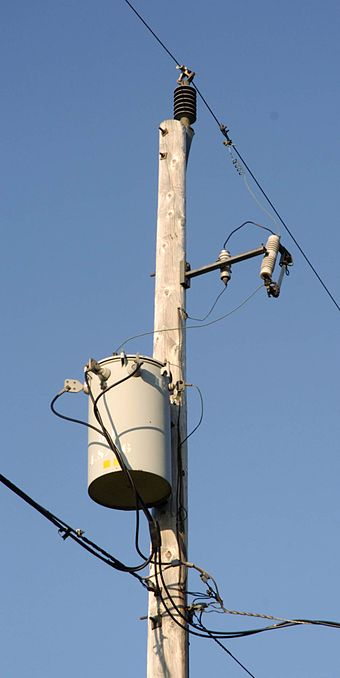 A pole-mount transformer on a single-wire earth return line in Canada Single-phase-pole-transformer-d335.jpg