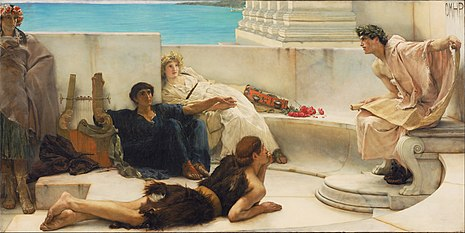A Reading from Homer (1885) by Lawrence Alma-Tadema Sir Lawrence Alma-Tadema, English (born Netherlands) - A Reading from Homer - Google Art Project.jpg