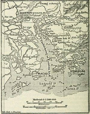 Pearl River Delta - An 1888 map of the mouth of the Pearl River Delta, showing the locations of Macau and Hong Kong