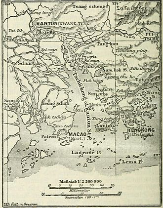 History of Hong Kong - 1888 German map of Hong Kong, Macau, and Canton (Guangzhou)