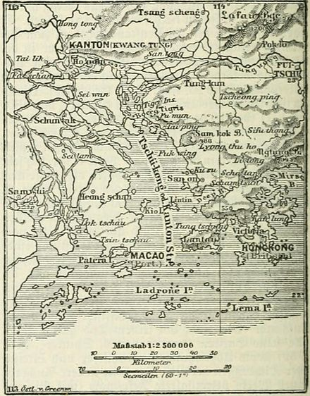 An 1888 map of the mouth of the Pearl River Delta, showing the locations of Macau and Hong Kong