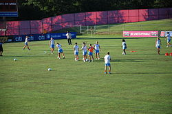 Sky Blue FC players warm-up before the game 2011.jpg
