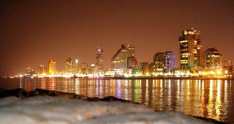 Skyline of Tel Aviv by night