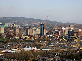 Velocity Tower - Skyline view of Sheffield with Velocity Tower in the centre