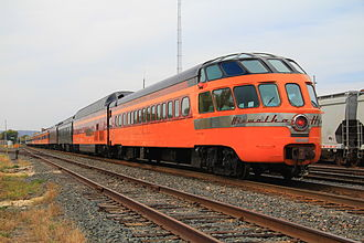 Observation car - One of the Milwaukee Road's Skytop Lounge cars brings up the rear of a steam excursion behind Milwaukee Road 261.
