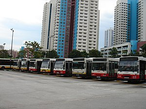 SMRT Buses - A mix of resprayed buses in red livery with some in older, yellow TIBS livery parked at Bukit Panjang Bus Interchange, shortly after TIBS's rebranding.