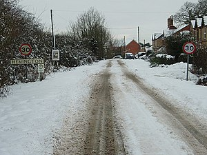English: Snow At Hemington Two days snow in Fe...
