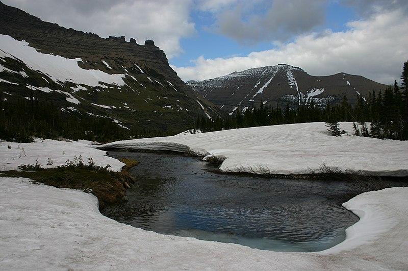File:Snow Melts into River near Iceberg Lake in Glacier National Park.jpg