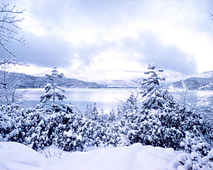Snowfall on a lake