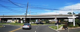 Somerville Circle - At-grade view of the circle looking west from Route 28, US 202 passes over the circle on the overpass