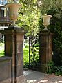 Sonnenberg Gardens and Mansion Blue and White Garden Gate.JPG