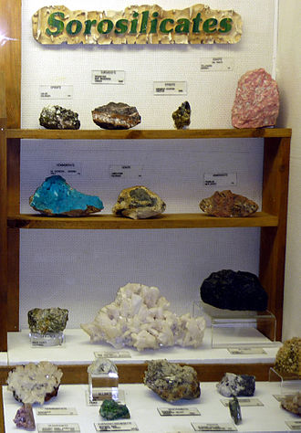 Silicate minerals - Sorosilicate exhibit at Museum of Geology in South Dakota