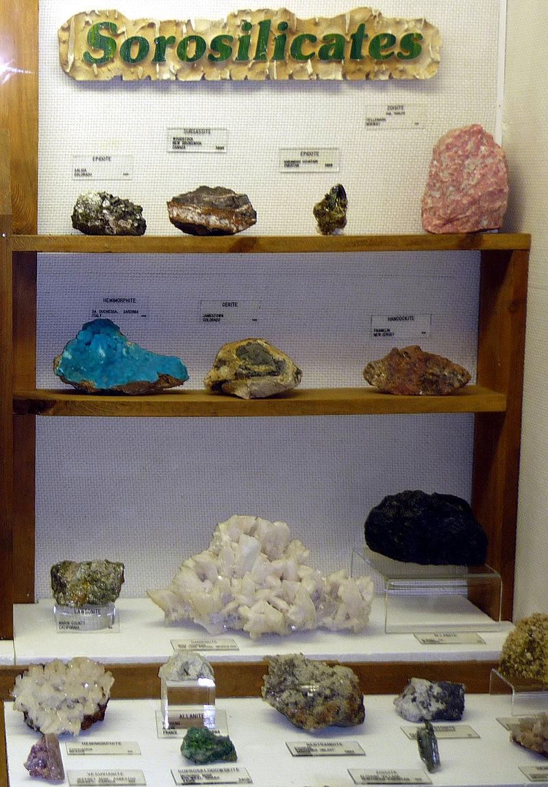 Sorosilicates exhibit, Museum of Geology, South Dakota.jpg