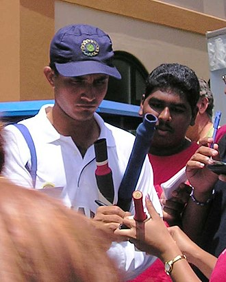 Sourav Ganguly - Ganguly signing autographs outside his residence.