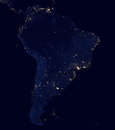 Satellite view of South America at night from NASA. South America night.jpg
