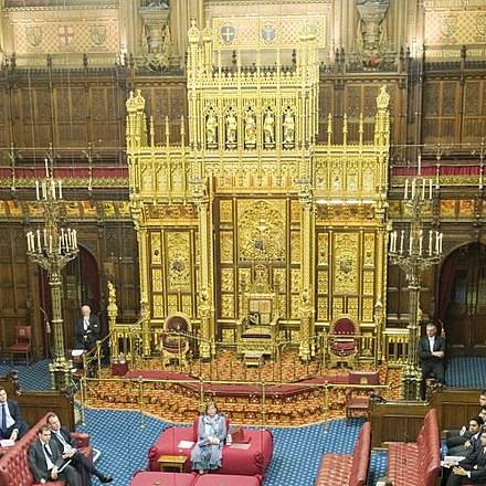 The Sovereign's Throne in the House of Lords, from which the speech is delivered at the State Opening of Parliament Sovereign's Throne.jpg