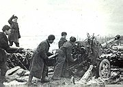 Soviet artillerymen firing at fortifications Nikopol 1944