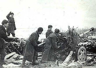 Nikopol–Krivoi Rog Offensive - Soviet artillerymen firing at fortifications during the offensive