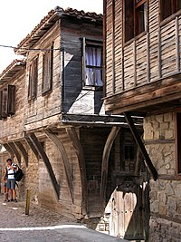 Old wooden houses in the town