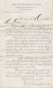 Example Of Classic American Business Cursive Handwriting Known As Spencerian Script From 1884