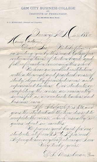 Penmanship - Example of classic American business cursive handwriting known as Spencerian script from 1884.