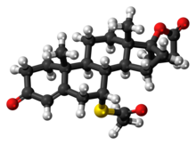 Ball-and-stick model of the spironolactone molecule