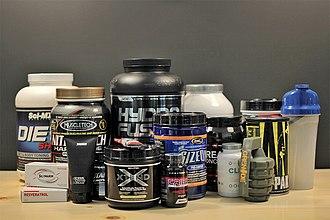 Sports nutrition - An assortment of supplements.