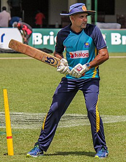 Sri Lanka Cricket Practice Session - Coach Marvan Atapattu giving slip catching practice.jpg
