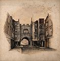 St John's Gate, Clerkenwell, London; the north side. Waterco Wellcome V0013158.jpg