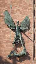 St Michael's victory over the Devil by Sir Jacob Epstein, Coventry Cathedral.jpg