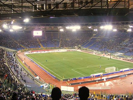 Stadio Olimpico, home of A.S. Roma and S.S. Lazio, one of the largest in Europe, with a capacity of over 70,000. Stadio Olimpico 2008.JPG