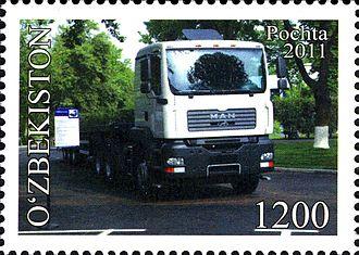 Automotive industry in Uzbekistan - MAN truck on the stamp of Uzbekistan, 2011