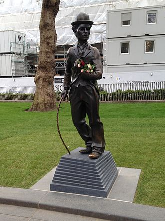 Statue of Charlie Chaplin, London - The statue shortly after its return to Leicester Square in April 2016