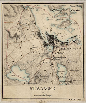 Hetland - 1855 map of the city of Stavanger.  The municipality of Hetland surrounds the city, with Hetland Church located just outside the city.