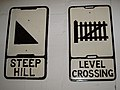 Steep Hill and Level Crossing Pre-Worboys road signs Coventry Transport Museum.jpg