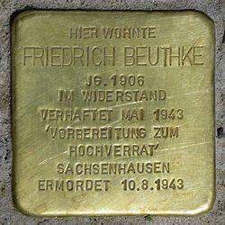 Photo of Friedrich Wilhelm Gustav  Beuthke  brass plaque
