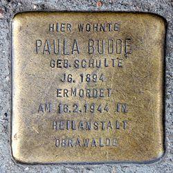 Photo of Paula Budde brass plaque