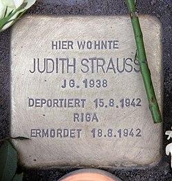 Photo of Judith Strauss brass plaque
