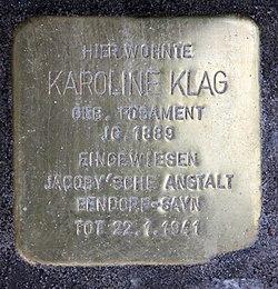 Photo of Karoline Klag brass plaque