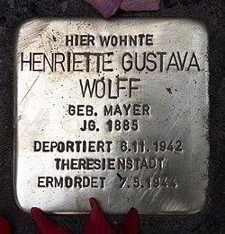 Photo of Henriette Gustava Wolff brass plaque