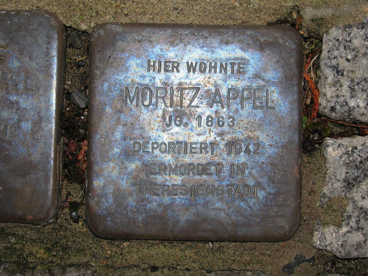 Stolperstein Moritz Appel, 1, Obermainstraße 13, Dietesheim, Mühlheim (Main), Landkreis Offenbach.jpg